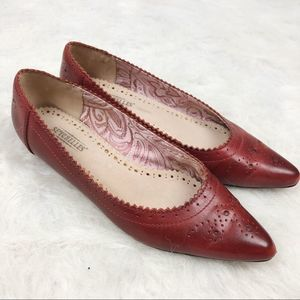 Seychelles Red Leather Pointed Toe Flats